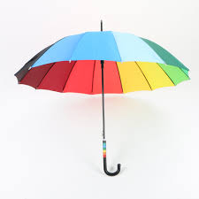 23 inch rainbow golf umbrella automatic open compact umbrella with hook handle