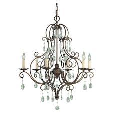 feiss cau 6 light mocha bronze single tier chandelier
