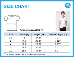 Unisex Cotton T Shirt Size Chart American Apparel Unisex Poly Cotton Ringer T Shirt