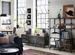 ikea industrial furniture. A Living Room With Shelving Units And TV Bench In Black Metal Wood Ikea Industrial Furniture N
