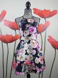 Details About Xtraordinary Womens Floral Asymmetrical Hem Fit Flare Black Pink Size 9