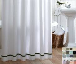 Linen Shower Curtain with Stripes accent, choose from 40+ linen fabrics,  mix and match your way.