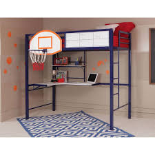 com powell hoops basketball twin loft bed with desk for the athlete in your home sy steel bed for a good nights sleep perfect space saver and