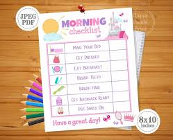 Morning Checklist Printable Girl Morning Routine Checklist