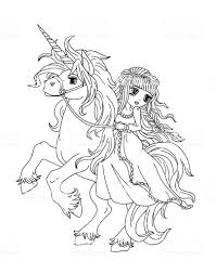 Coloring Pages Coloring Page The Princess On Unicorn Illustration