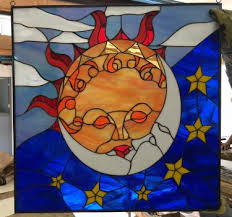 beautiful kissing sun moon leaded leaded stained glass window panel 22 x 22 in