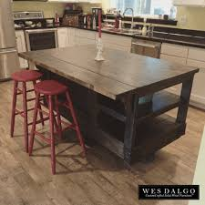 Distressed Dark Wood Modern Rustic Kitchen Island Cart With
