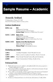 sample academic cv template free sample academic resume