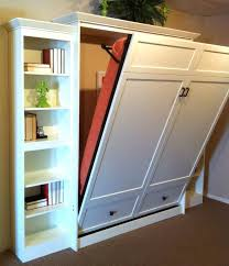 Murphy Wall Bed With White Racks With Books And Laminate Flooring
