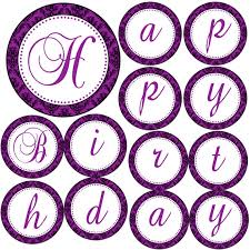 Purple Happy Birthday Banner Damask Birthday Banner Purple Black Happy Birthday Banner Purple