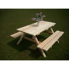 elegant picnic table with attached benches white cedar log picnic table attached benches