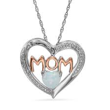 4mm heart shaped lab created opal and diamond accent mom heart pendant in sterling silver and 14k rose gold plate