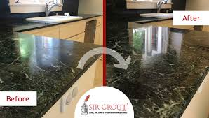 before and after picture of a serpentine marble countertop stone polishing service in phoenix arizona