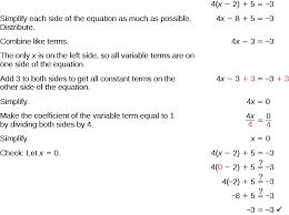 the top line shows 4 times paheses x minus 2 plus 5 equals negative 3