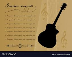 Guitar Concerts Program Template With Black Guitar
