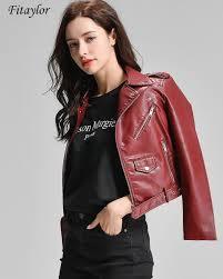 fitaylor faux leather jacket women slim pink black blue biker coat zipper motorcycle jacket short classic moto biker jackets