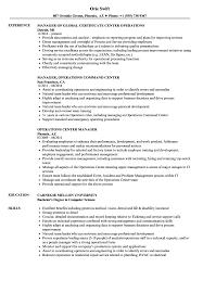 Operations Center Manager Resume Samples Velvet Jobs