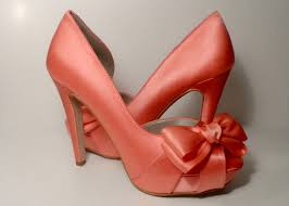 coral wedding shoes. Coral Bow Front Four Inch Platform Heels Silk Wedding Shoes Bridal