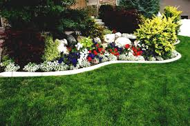 flower garden design. Use Blue And Red Flowers For Enchanting Flower Garden Ideas With Lush Plants Near Green Grass Design