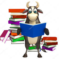 3d rendered ilration of bull cartoon character with book stack photo by visible3dscience