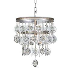 charmed 3 light silver with champagne mist chandelier with clear crystal beads