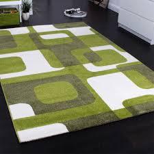 designer rug woven trendy retro style green grey cream image 2