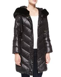 austin puffer coat with faux fur trimmed hood