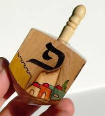 Wooden Spinning Top Game Large Olive Wood Hanukkah Dreidel Jewish Spinning Top Game 94
