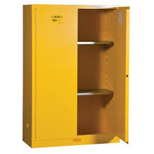 flammable liquids safety storage cabinet 45 gal manual closing 43 w x 18 d x 65 h