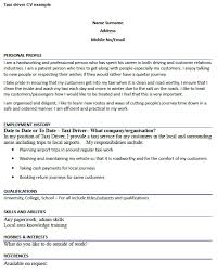 Taxi Driver Cv Sample Professional Resume Templates