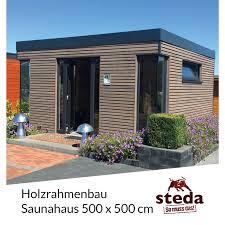 Holzrahmenbau Saunahaus Rhombus Lärche 5x5 M 500x500 Cm Steda