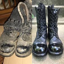 before and after of some corcoran jump boots that i refurbished