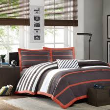 mi zone jonah 4 piece orange grey full queen print comforter set