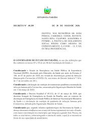 DECRETO Nº 40.289 DE 30 DE MAIO DE 2020. INSTITUI, NOS MUNICÍPIOS DE JOÃO  PESSOA, CABEDELO, CONDE, BAYEUX, SANT
