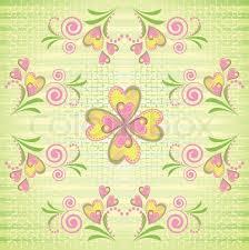Flower Pink And Yellow Heart Stripe Seamless Pattern Stripy Green