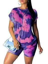 Ramoug <b>Women Summer</b> Tie Dye Colorful Print <b>Two</b> Piece Shorts ...