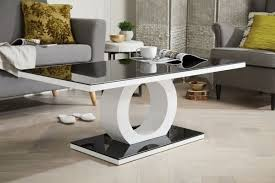 giovani modern halo black white high gloss and glass coffee table