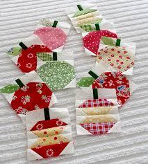 140 best Quilt Blocks images on Pinterest | Quilt patterns ... & Paper Pieced apple blocks for a row quilt --- soooo cute! Adamdwight.com