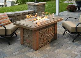 stacked stone gas fire pit table