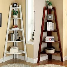 ... Nice Design Bedroom Corner Shelves Walnut Finish Wood Wall Corner 5  Tiers Shelves Bookshelf Case By ...