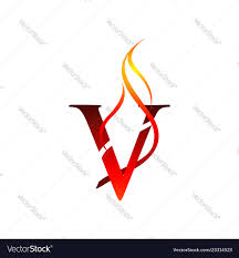 V Letter Design Initial V Letter Flame Logo Design Fire Logo