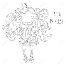 クラウンのベクトルかわいい姫妖精の女の子ベクトル線図はがき印刷や大人の塗り絵をスケッチします手