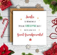 Christmas Pregnancy Announcement Card Santa Is Bringing Great Grandparents Card Expecting Card Pregnancy Card Baby Card Xmas Card