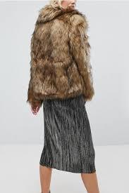light brown lapel faux fur hooked long sleeve chic coat