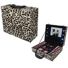 light up leopard print vanity trinket case make up cosmetic gift set amazon co uk beauty