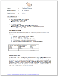 Sample Template Of An Excellent Experienced Graduate B Com