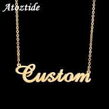 atoztide customized fashion stainless steel name necklace personalized letter gold choker necklace pendant nameplate gift