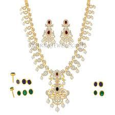 diamond long necklace set with detachable pendant and changeable color stones dlns12