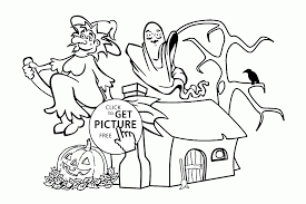 Small Picture Funny Halloween Witch and Ghost coloring pages for kids halloween