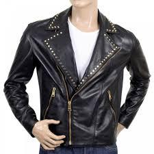 versace mens biker studded leather zipped jacket in black